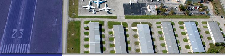 Boca Raton Airport hangars.