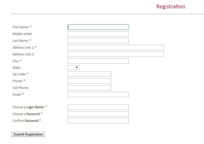 Registration form for noise complaint