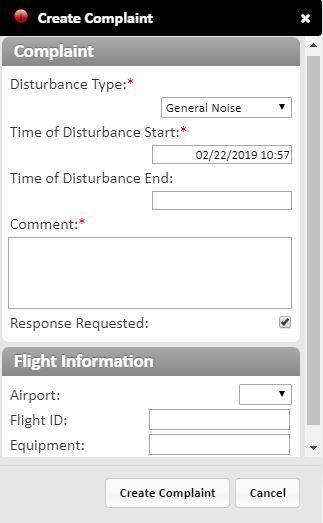 Noise complaint form
