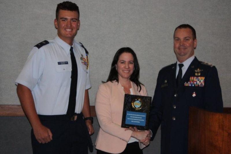CAP Award with BRAA Airport Executive Director Clara Bennett accepts award from Civil Air Patrol