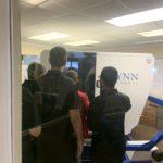 Students at the Lynn University flight simulator